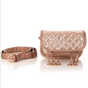 FINAL PRICE Rose Glossy Quilted Belt Bag